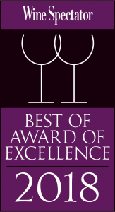 Wine Spectator Best of Award of Excellence 2018 graphic
